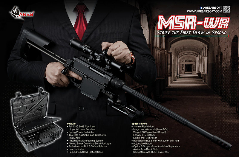 【翔準軍品AOG】2018年新版 ARES MSR-WR 手拉空氣槍 + 送BOG高級狙擊鏡+ 槍盒