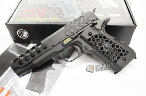 【翔準軍品AOG】【WE 1911 蜂巢 黑黑】 瓦斯槍 GBB 手槍 拆卸 全金屬 後座力 D-02-08-6B