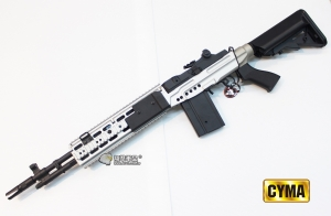 【翔準國際AOG】CYMA M14 EBR FULL METAL SV 銀色 電動槍 CM032EBR