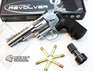 【翔準國際AOG】WG 左輪 四吋 電鍍銀色 CO2 直壓槍精裝版 全金屬 WG010