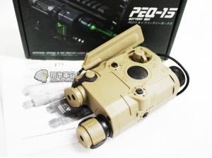 【翔準軍品AOG】【PEQ-15 紅點+綠光 沙色】紅外線 紅雷射 槍燈 電池盒 DA-UFCBA32C
