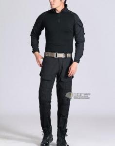 【翔準國際AOG】黑色 青蛙裝 反恐 生存 套服 戰鬥服 棉質上衣 耐磨 整套 含護具 G0125