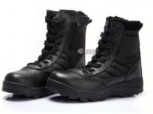 【翔準國際AOG】SWAT 特警戰鬥靴 黑 側開拉鍊 戰鬥靴 野戰 軍靴 登山鞋 運動鞋 軍鞋 H0107
