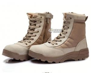 【翔準國際AOG】SWAT 特警戰鬥靴 沙 側開拉鍊 戰鬥靴 野戰 軍靴 登山鞋 運動鞋 軍鞋 H0108