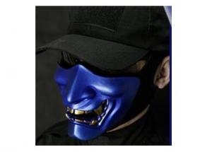 【翔準軍品AOG】【惡魔面具 藍】般若之面 惡鬼 鬼面具 硬殼半罩式 防彈 面罩 派對角色扮演 電影道具 萬聖節 B0219