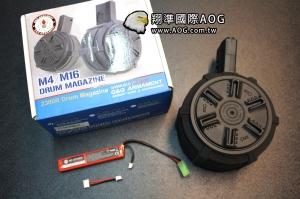 【翔準國際AOG】(免運費)G&G 怪怪 M4 M16 電動彈鼓 2300連大容量 (含7.4V 電池)