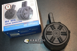 【翔準國際AOG】(免運費)G&G 怪怪 M4 M16 彈鼓 2300連大容量  手動轉盤上彈