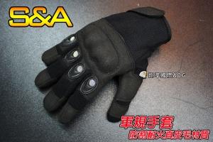 【翔準軍品AOG】(大網)防割耐火真皮毛 全指手套(黑)軍規 戰術手套 健身 射擊 登山 騎車(4547)SNA7BA