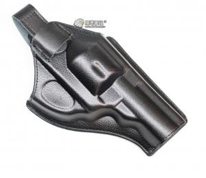 【翔準軍品AOG】左輪 四吋 槍套 皮製 黑色 手槍 瓦斯槍 圓扣 魔鬼沾 CWE-100-8