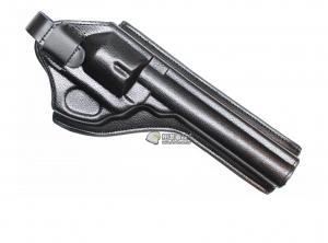 【翔準軍品AOG】左輪 六吋 槍套 皮製 黑色 手槍 瓦斯槍 圓扣 魔鬼沾 CWE-100-6