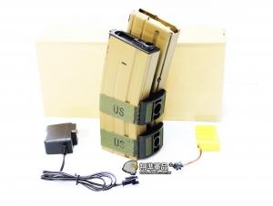 【翔準軍品AOG】M4 電動槍彈鼓 電動槍 附贈:電池充電器 800顆 自動上彈 尼色(KWA WE LCT G&G ) D-10-26GA