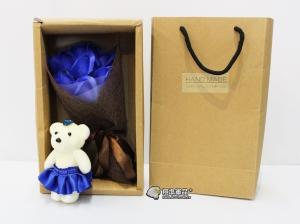 【翔準軍品AOG】藍色款 小熊 香皂花 母親節 婚禮 婚紗 女朋友 教師節 花束 七夕 情人節