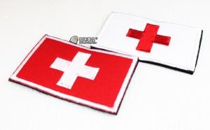 【翔準軍品AOG】瑞士 國旗  臂章 徽章 勳章 識別 生存 標誌 休閒 戶外 登山 外套 魔鬼氈