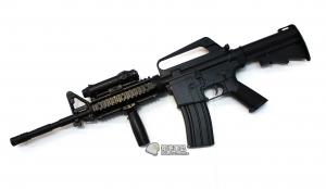 【翔準軍品AOG】*無法超取*WELL 黑款 手拉長槍 M16A4 8.48 空氣槍 塑膠 槍燈 DW-04-AZA