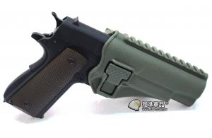 【翔準軍品AOG】 (腰掛-背心款) 1911綠色硬殼槍套 手槍 硬殼槍套 瓦斯槍 P1105KR