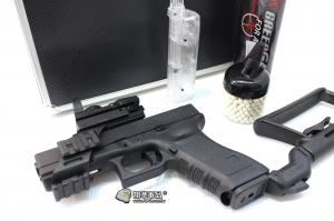 【翔準國際AOG】 G17衝鋒8套件 WEG17+恐龍瓦斯(迷你版)+L型內紅綠點+填彈器+鋁箱+延長托+手槍魚骨+BB彈迷你瓶