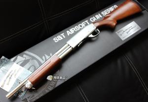 【翔準國際AOG】S&T 手拉空氣槍 M870 middle(銀色) 散彈槍 BB槍 全金屬 實木 DA-SPG-07
