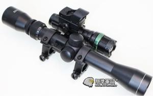 【翔準軍品AOG】(超值5件套)3-9X32 全配 + 紅綠光攻擊頭迷你內紅點 + Q5燈 +8字環+ 夾具 瞄準器 金屬材質 高清晰