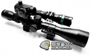 【翔準軍品AOG】3-9X40 全配 + T1 + Q5燈 +8字環+ 夾具魚骨 瞄準器 金屬材質 高清晰