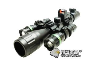 【翔準軍品AOG】(雙炮高倍套餐) 6-24x40 紅綠光 狙擊鏡 夾具 狙擊槍 生存遊戲 周邊 瞄具 零件  有紅綠光手電筒