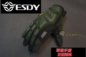 【翔準軍品AOG】 ESDY 全指海報款(綠) 軍規 戰術手套 健身 射擊 登山 騎車 防BB彈 X1-5-9I豹