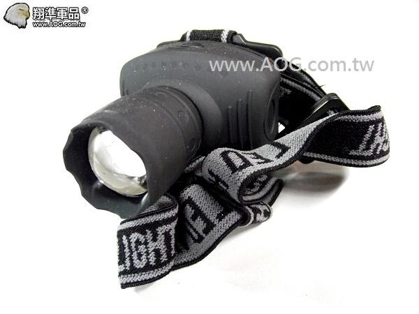 【翔準軍品AOG】簡易頭燈-T6燈(黑) 登山 戶外活動 釣魚 專用頭燈 L602-01